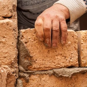 Flat renovation master agrees brick on brick says partition wall mortar on bricks